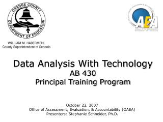 Data Analysis With Technology AB 430 Principal Training Program