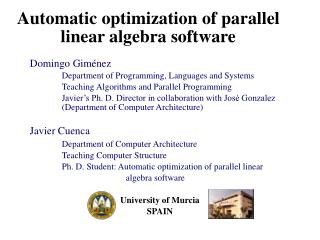 Automatic optimization of parallel linear algebra software