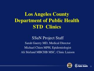 Los Angeles County Department of Public Health STD  Clinics
