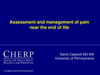 Assessment and management of pain near the end of life