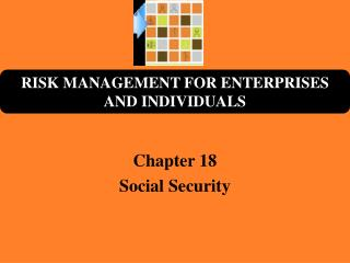 Chapter 18 Social Security