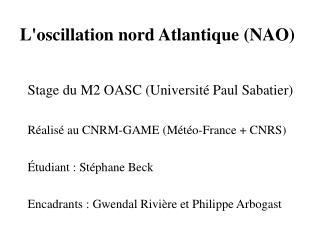 L'oscillation nord Atlantique (NAO)