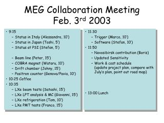 MEG Collaboration Meeting Feb. 3 rd  2003