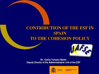 CONTRIBUTION OF THE ESF IN SPAIN TO THE  COHESION  POLICY