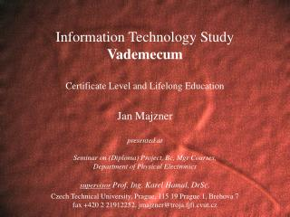 Information Technology, Certificate, Lifelong Learning