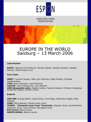 EUROPE IN THE WORLD Salzburg – 13 March 2006