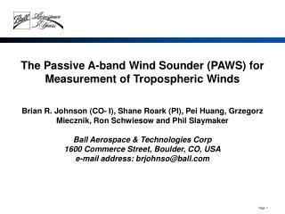 The Passive A-band Wind Sounder (PAWS) for Measurement of Tropospheric Winds
