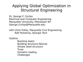 Applying Global Optimization in Structural Engineering