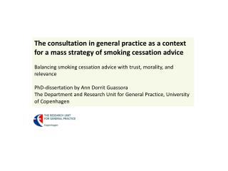 The consultation in general practice as a context for a mass strategy of smoking cessation advice