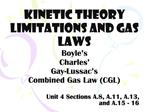 Kinetic theory limitations and gas laws Boyle s Charles  Gay-Lussac s Combined Gas Law CGL