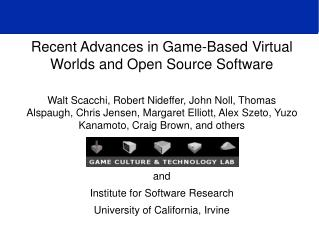 Recent Advances in Game-Based Virtual Worlds and Open Source Software