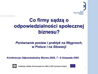 Konferencja Odpowiedzialny Biznes 2005, 7 - 8 listopada 2005