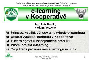 e-learning  v Kooperativě