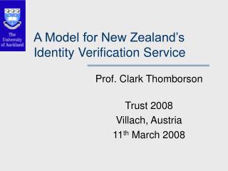 A Model for New Zealand's Identity Verification Service