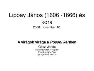 Lippay János (1606 -1666) és kora 2006. november 10.