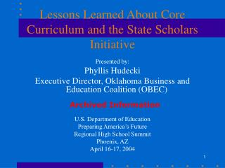 Lessons Learned About Core Curriculum and the State Scholars Initiative