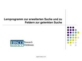 Lernprogramm zur erweiterten Suche und zu Feldern zur gelenkten Suche