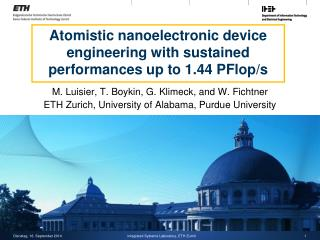 Atomistic nanoelectronic device engineering with sustained performances up to 1.44 PFlop/s