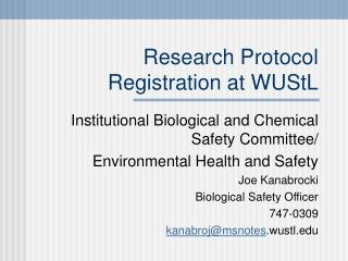 Research Protocol Registration at WUStL