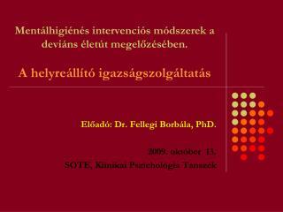 Előadó: Dr.  Fellegi  Borbála, PhD.  2 009. okt óber  13. SOTE,  Klinikai Pszichológia Tanszék
