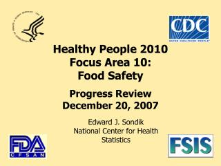 Healthy People 2010  Focus Area 10: Food Safety Progress Review December 20, 2007