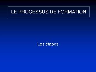 LE PROCESSUS DE FORMATION