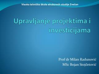 Upravljanje projektima i investicijama
