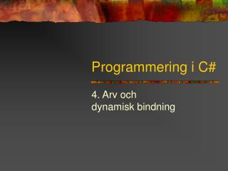 Programmering i C#
