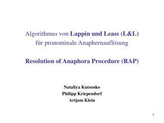 Algorithmus von  Lappin und Leass (L&L)  für pronominale Anaphernauflösung