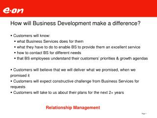 How will Business Development make a difference?
