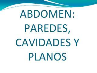 ABDOMEN: PAREDES, CAVIDADES Y PLANOS