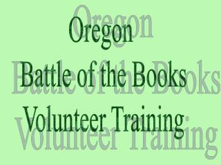 Oregon  Battle of the Books Volunteer Training