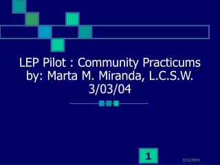 LEP Pilot : Community Practicums by: Marta M. Miranda, L.C.S.W. 3