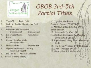 OBOB 3rd-5th Partial Titles