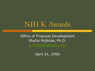 NIH K Awards
