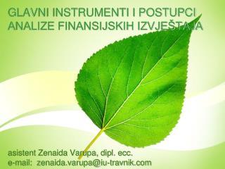 GLAVNI INSTRUMENTI I POSTUPCI ANALIZE FINANSIJSKIH IZVJEŠTAJA