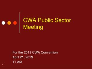 CWA Public Sector Meeting