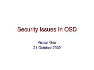 Security Issues In OSD