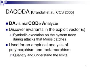 DACODA  [Crandall et al.; CCS 2005]