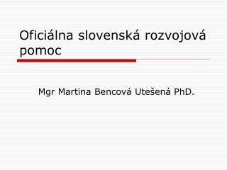Oficiálna slovenská rozvojová pomoc