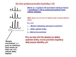 Pro on-line UV-Vis detekci je délka optické dráhy rovná průměru kapiláry tedy pouze desítky  m m