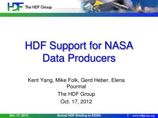 HDF Support for NASA Data Producers