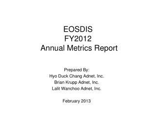 EOSDIS  FY2012  Annual Metrics Report