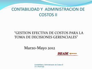 CONTABILIDAD Y  ADMINISTRACION DE COSTOS II