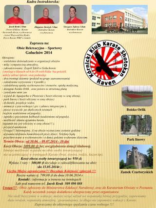 Zaprasza na: Obóz Rekreacyjno – Sportowy  Gołuchów 2014