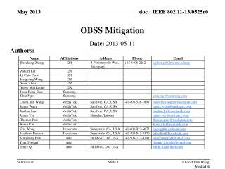 OBSS Mitigation
