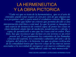 LA HERMENEUTICA Y LA OBRA PICTORICA