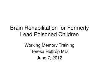 Brain Rehabilitation for Formerly Lead Poisoned Children