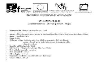 VY_32_INOVACE_22_20 Základní vzdělávání – Člověk a společnost - Dějepis