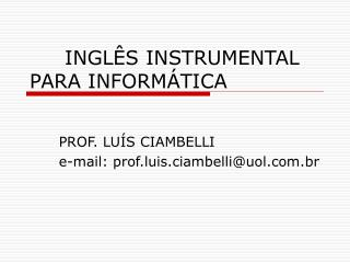 INGLÊS INSTRUMENTAL PARA INFORMÁTICA